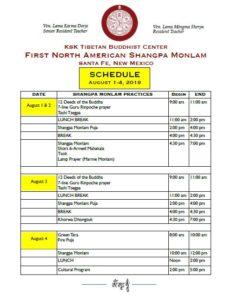 First North American Shangpa Mönlam – August 1-4, 2019